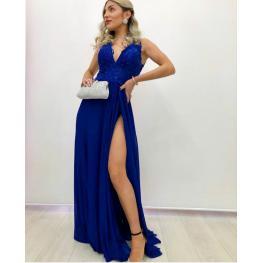 Vestido Largo Gabriela Color Azul Electrico