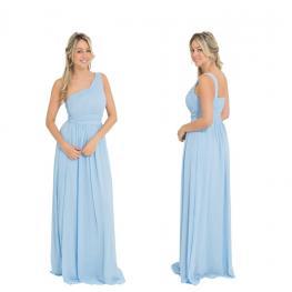 Vestido Largo Griego Color Celeste