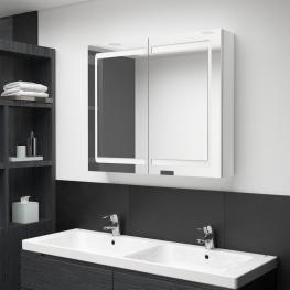 Armario de Baño Con Espejo Led Blanco Brillante 80X12X68 Cm