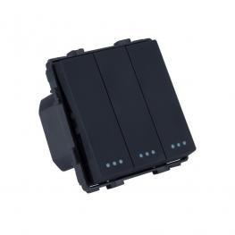 Interruptor Empotrable Triple Negro Conmutado