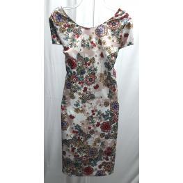 Vestido Estampado Flores (48) 95%poliester 5%spandex /forro 100% Poliester