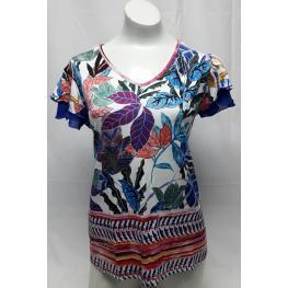 Camiseta Flores (48) 94% Viscosa 6% Elastano