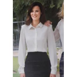 Blusa Vestir Blanca (95% Poliester 5% Spandex )