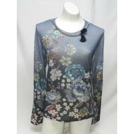 Camiseta Flores Azul (70% Viscosa30% Acrilico)