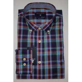 Camisa Cuadros Lila( 80% Algodon 20% Poliester)
