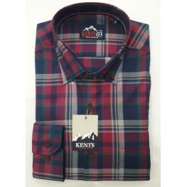 Camisa Cuadros Burdeos (100% Algodon )