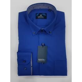 Camisa Vestir Azul (67% Poliester33%algodon )