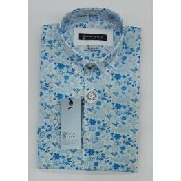Camisa Flores  M/c (100% Algodon)