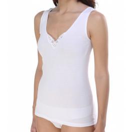 Camiseta Tirantes Anchos Blanca Con Adorno Ferrys T. M-L-Xl