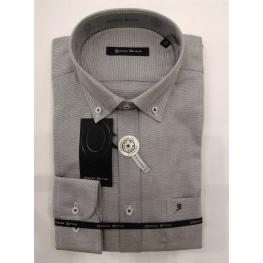 Camisa Falso Liso Gris Claro M/l Hombre Oscar Style T. 6 - 5 - 4