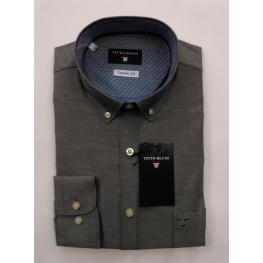 Camisa Falso Liso Hombre Gris Oscuro Titto Bluni M/l T. 6 - 5 - 4