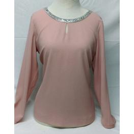 Top Vestir Rosa Con Cuello Pedreria de Hortensia T. 46, 48, 50 y 52