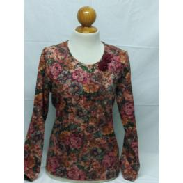 Camiseta Flores de Olga Santoni Tallas: 48- 50-52