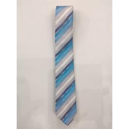 Corbata Listas Azul 100%microfibra