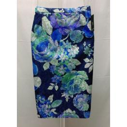 Falda Vestir Azul Flores (48) 100%poliester