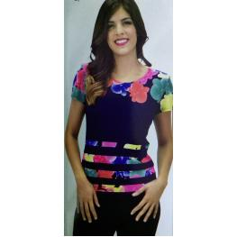Camiseta Flores(Xl)95%poliester5%elastomero