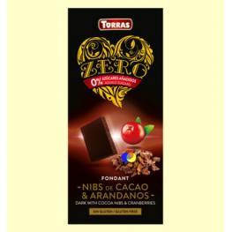 Chocolate Negro Con Nibs de Cacao y Arandanos Sin Azucar 125 Gr Bio