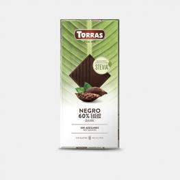 Chocolate Negro Con Stevia Sin Azúcar Añadido Torras Sin Gluten 100 G.