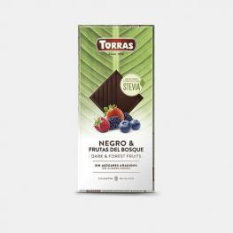 Chocolate Negro Con Frutas del Bosque y Stevia Sin Azúcar Añadido Torras Sin Gluten 125 G.