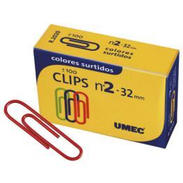 Umc C.100 Clips Plastificados Colores 32Mm