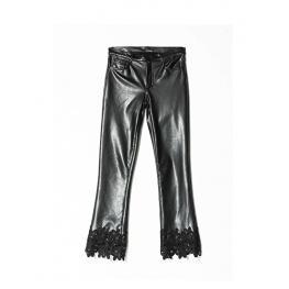 Pantalón Negro Polipiel Guipur Bajo