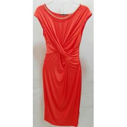 Vestido Naranja Drapeado y Cadena Oro