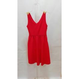 Vestido Tirantes Rojo Detalle Oro En T.M