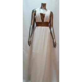 Vestido Largo Blanco y Crochet Marrón