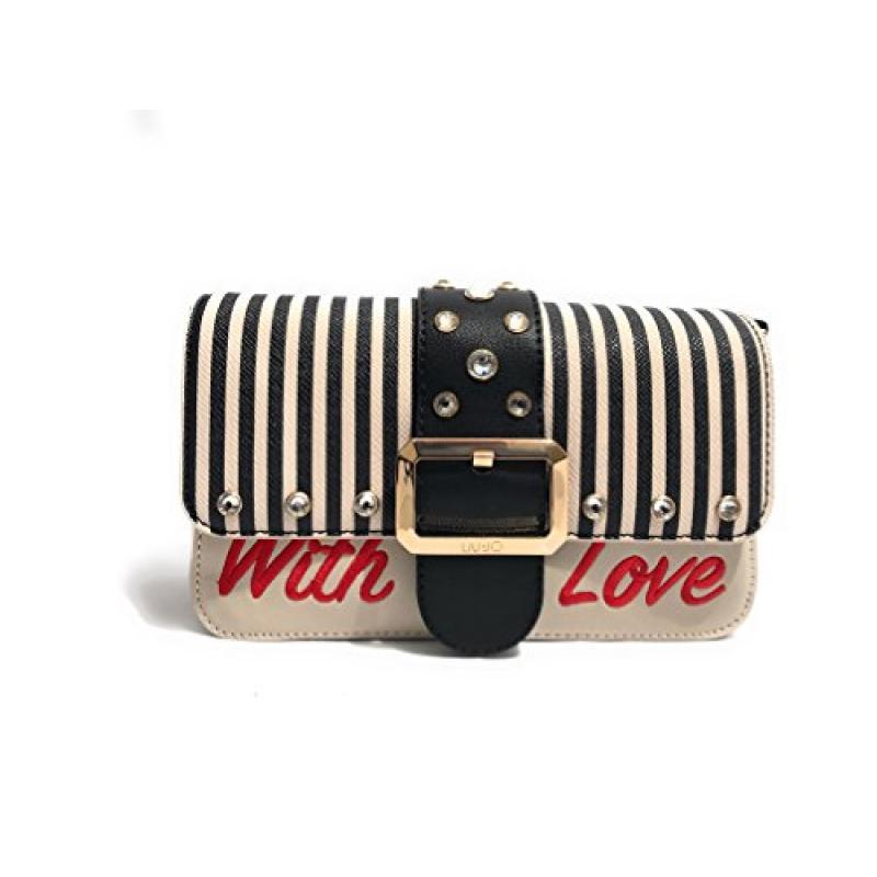 excepcional gama de colores zapatos clasicos gran descuento para Bolso Beige Rayas Negras Love Liujo - Yub Store