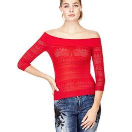 Jersey Rojo Calado Cuello Barco