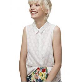 Camisa Blanca S/ M  Con Lunares Grabados