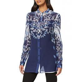 Camisa Estampada Azul Marino Piedras Cuello