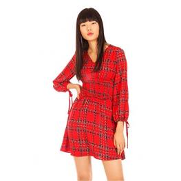 Vestido  Rojo Cintura Ancha Gomas  Emily