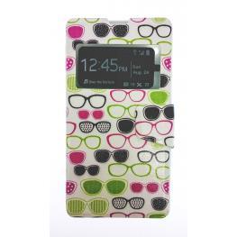 Funda Libro Sony Z1 / L39H Con Dibujo Gafas