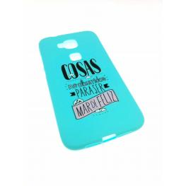 Funda Gel G8 Color Azul Con Frase