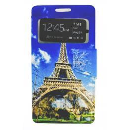 Funda Libro Galaxy Core 2 / G355H Con Dibujo la Torre Eiffel