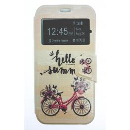 Funda Libro Galaxy S6 Con Dibujo de Bici Rosa