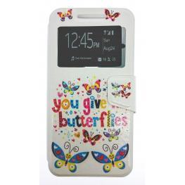 Funda Libro Nexus 5X Con Dibujo Mariposas