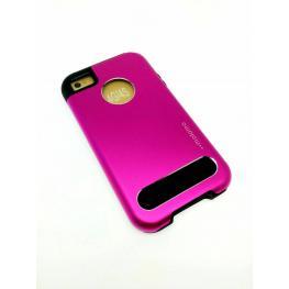 Funda Fashion Rosa Gel Por Dentro Metalica Por Fuera Iphone 4/4S
