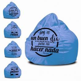 Puff Pera Polipiel Azul Turquesa Frases Surtidas