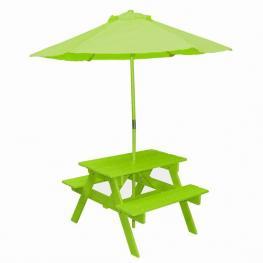 Mesa +Banco Madera Infantil Con Sombrilla-Verde