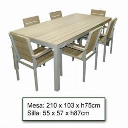 Mesa + 6 Sillas Jardin  Athena 210X103X75-55X57X87