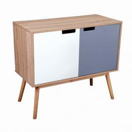 Mueble Natural 2 Puertas Gris/blanco 80X38X70Cm
