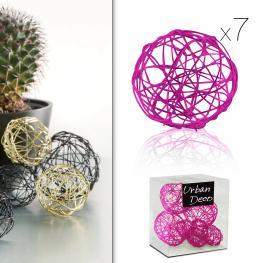 Bolas de Hilo de Metal Rosa X7 60 Gr