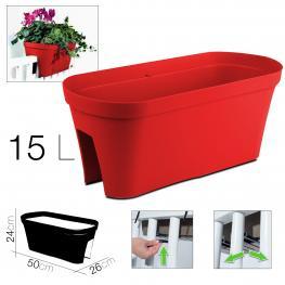 Jardinera Monaco Roja 50 X 26 X 24 Cm 15L