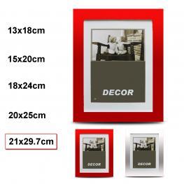 Porta Fotos Espejo 2 Mod. Plata / Rojo 21 X 29.7 Cm
