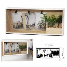 Portafotos Blanco Con Pinza 3 Fotos 20 X 50 Cm