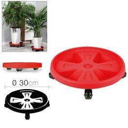 Soporte Macetero Melrose C/rueda Rojo Diam 30 Cm