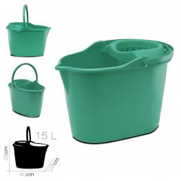 Cubo Ovalado Con Escurridor 15 Litros Verde