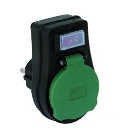 Rev Adaptador Con Interruptor Ip44  Negro-Verde